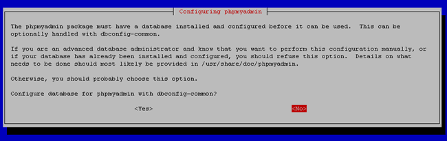 Configuring phpmyadmin: dbconfig-common