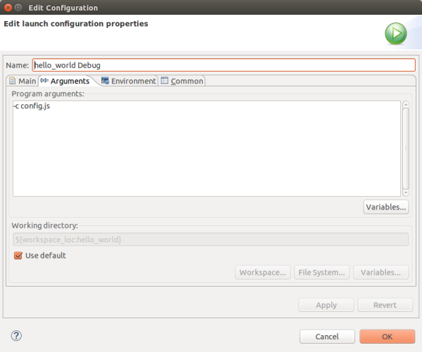 Eclipse launch configuration - CppCMS